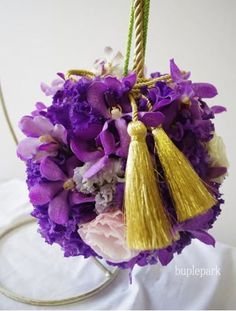 ball bouquet purple 和装ボールブーケ 紫