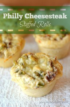 Philly Cheesesteak Stuffed Rolls - these rolls are stuffed with creamy filling made of cream cheese, green peppers, onions, beef, and hot sauce. YUMMY!