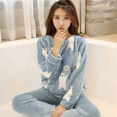 Thick Warm Flannel Pajamas Sets Winter Women Two Piece Pajama Set Cartoon Female  Sleepwear Home Clothing Women s Pajamas Suit 19ab75cfa