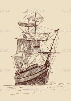 old time sailing ship clip art | Vintage old Ships illustration. — Stock Vector © VladisChern ..