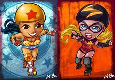 DC VS Marvel Roller Derby: Wonder Woman/Ms Marvel by *kevinbolk
