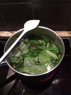 sirop de menthe facile : eau, feuille de menthe, sucre
