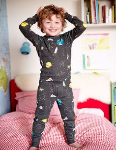 Discover our range of boys' nightwear at Boden. Browse our cosy collection of printed pyjamas and soft slippers sure to keep things snug at bedtime. Fashion Kids, Little Boy Fashion, Kids Pjs, Kids Pajamas, Pyjamas, Toddler Boys, Baby Kids, Kids Nightwear, Mini Boden
