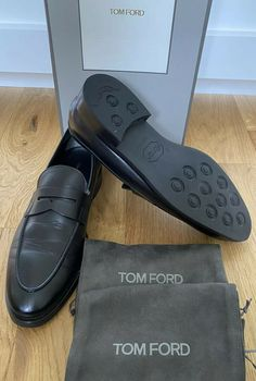Tom Ford Penny Loafer Shoes 10.5T UK 9.5 Black Leather Vibram Sole Slip On Shoes · $295.00 Loafer Shoes, Loafers Men, Tom Ford Shoes, Brown Brogues, Shoe Deals, Penny Loafers, Slip On Shoes, Grid, Toms