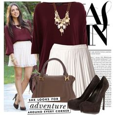 A fashion look from December 2012 featuring red top, white skirt and high heel shoes. Browse and shop related looks. Accordion Skirt, Simple Style, My Style, Fresh Girls, Burgundy Top, Weekend Outfit, Passion For Fashion, Dress Skirt, Cool Outfits