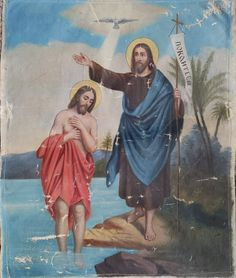 Baptism Of Christ, Russian Icons, Antiques, Painting, Art, Antiquities, Art Background, Antique, Painting Art