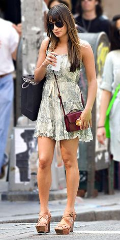 CROSSBODY MINI BAGS  Lighten your load with an undersize purse like Lea Michele's – it easily fits a phone, wallet and some makeup, looks sleeker than a huge purse and won't leave you with an aching shoulder.