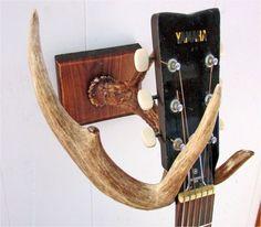 DIY guitar wall mount made from deer antler, WAY neat!!!