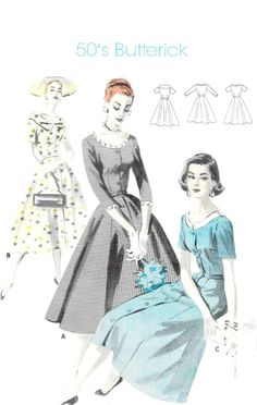 Vintage Misses' Dress Sewing Pattern - Butterick Bust - Fit and Flair - Button Front, Scoop Neckline - Gently Used Sewing Summer Dresses, Dress Sewing, 50s Vintage, Vintage Ladies, Vintage Stuff, Vintage Dress Patterns, Clothing Patterns, Vintage Outfits, Vintage Fashion