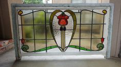 Large Antique English Leaded Stained Glass Window 5 Color 51 x 29 Architectural   eBay