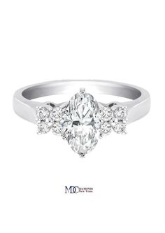 Duo Floral Oval Diamond Engagement Ring