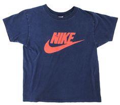 70's オレンジタグ NIKE スウォッシュロゴTシャツ 表記(M) 紺×赤
