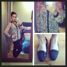 Outfit of the day leggings, blouse and loafers