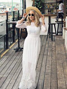 Modest White Dress