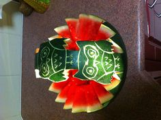 My sister Amy Sam made this owl watermelon basket