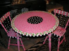cool painted table and chairs