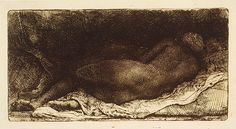 """Negress"" Lying Down, 1658  Rembrandt (Rembrandt van Rijn) (Dutch, 1606–1669)  Etching, drypoint, engraving  3 3/16 x 6 1/4 in. (8.1 x 15.8 cm)"