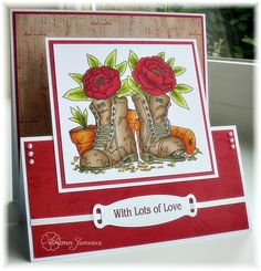 handmade card ...red  roses in garden boots ... zig zag fold perfect for display ... beautiful coloring ... like the design ...