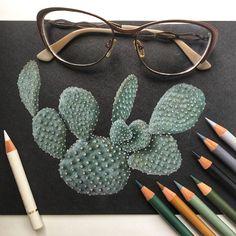 Кактус/Cactus Иллюстрация цветными карандашами на черной бумаге Colored pencils illustration on black paper botanical illustration ботаническая иллюстрация