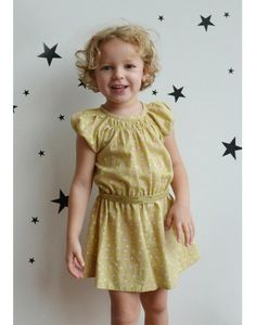 The Meadow Summer Dress. Beautiful popeline dress in La Queue du Chat exclusive Gold Print. Elasticated waist. Organic and Fair trade