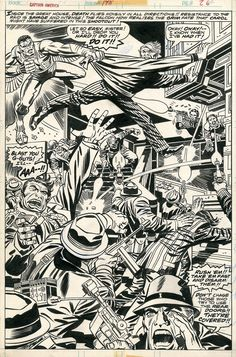 """rocket-prose: """" A Jack Kirby page from Captain America #198 (1976) LOVE the use of space on this page. """""""