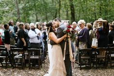 Kiss at the end of the aisle on the exit - Wedding Day photo ideas  Larissa & Casey — Daring Tales of Darling Bones