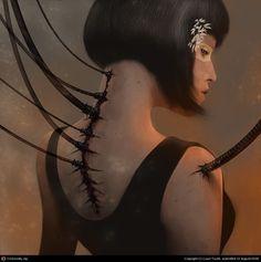 cyberpunk, cyber girl, cyborg, dark, sci-fi, science fiction art fall fall fall into yourself
