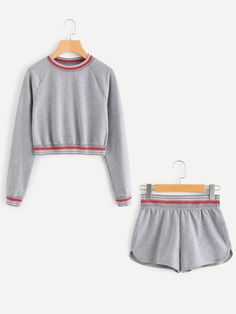 Two-piece Outfits by BORNTOWEAR. Striped Trim Pullover & Shorts Loungewear Set