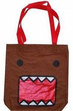 Domo Kun Tote Bag - Brown Large Shoulder Courier Bag Monster Face Anime Licensed #DomoKun #ToteBag