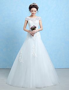 Trumpet / Mermaid Wedding Dress Floor-length Scoop Lace / Tulle / Sequined with Lace / Sash / Ribbon / Beading – USD $ 109.99