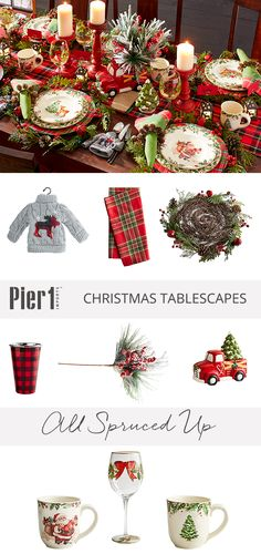 All Spruced Up tablescape by Pier 1: Layer on the plaid, and add our vintage-inspired dinnerware to the party. Get creative with an ornament, and invite it to the table to hold your flatware. A bit of pinecone and a dash of jingle bell, and your table is set.