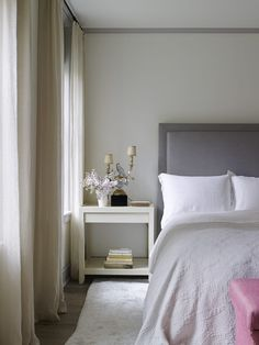 Grey and Pink Bedrooms - Transitional - Bedroom Home Bedroom, Bedroom Decor, Bedroom Ideas, Master Bedroom, Serene Bedroom, Bedroom Corner, Style Asiatique, Decoracion Vintage Chic, Townhouse Designs