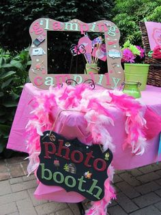 Photo booth at a glamping birthday party! See more party ideas at CatchMyParty.com!
