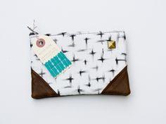 brushstrokes crosses print zipper purse /made by hank