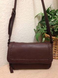 c6af4280f9a7 Eddie Bauer Brown Pebble Leather Organizer Shoulder Handbag Bag Braided  Accent