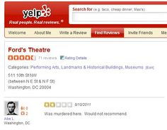 Abraham Lincoln Review of Fords Theater On Yelp