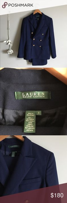 Ralph Lauren wool pants suit Incredible navy blue pants suit by Ralph Lauren. Basically brand new without tags-no signs of wear. Blazer is double breasted (originally $1,690). Pants are straight legged with a zipper and buttons on the side (originally $750). Both pieces have gold buttons with Ralph Lauren logo. Size 6. Pants are hanging underneath the blazer in the first photo. Also, they can be sold separately upon request :) Ralph Lauren Jackets & Coats Blazers