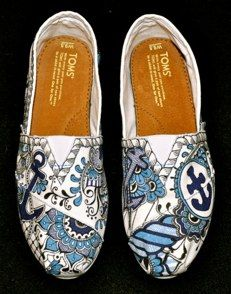 Custom Tom's, Anchor, #142 Sharpie Shoes, Tom Love, Painted Toms, Go Fly A Kite, Delta Gamma, Product Ideas, Diy Fashion, Me Too Shoes, Affair