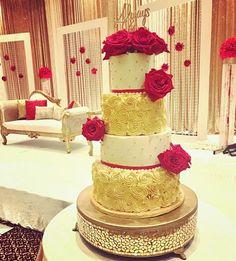 Gold, ivory & red buttercream cake#carinaedolce  www.carinaedolce.com www.facebook.com/carinaedolce Deep Red Wedding, Wedding Cake Red, Gold Wedding, Buttercream Cake, Red Gold, Ivory, Indian, Facebook, Red Wedding Cake Icing