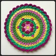 Sunny Garden Mandala - free Swedish crochet pattern with row by row  tutorial and clear photos by Fingers Croched. 305492ffbe09e