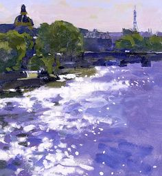 Ken Howard R.A. (British, born 1932) The Seine Paris - Evening Sparkle
