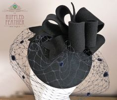 Navy wool felt pillbox hat cocktail hat by TheRuffledFeatherBou