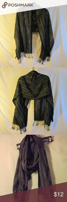 Van Heusen Men/'s One Size Black Soft Thin Fringe Scarf NEW $36
