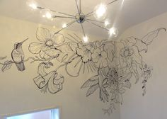 Tropical themed Black and white wall art, domestic but could be created similar in bar/retail space