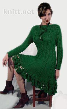 Зелёное платье Подробнее: http://knitt.net/zelyonoe-plate.html