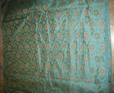 "100% Pure Silk Brocade~Width 44"" blue floral jacquard $19.00"