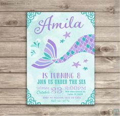 Mermaid birthday theme invitation diy printable mermaid party mermaid birthday invitations teal aqua and purple little mermaid silhouette theme swim party girl teal invitations purple nv746 by cardmint on etsy filmwisefo