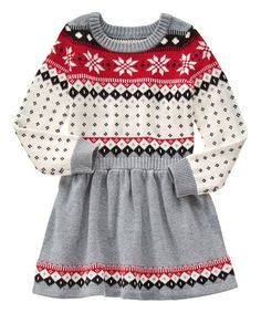 Love this Gray   Red Fair Isle Sweater Dress - Girls by Gymboree on 8bf6daeb7