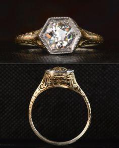 Erie Basin Blog - 1910-20s Art Deco Hexagonal Topped 0.82ct European Cut Diamond Engagement Ring, 14K Yellow Gold Filigree