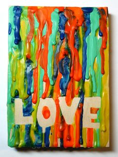 Melted crayon art with fun words